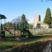 Playground with view of Church